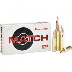 Cartouches HORNADY Calibre 308 Winchester 168grs ELD MATCH - Boite de 20 unités