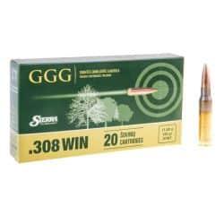 Cartouches GGG Calibre 308 WINCHESTER 180grs SIERRA MATCH - Boite de 20 unités