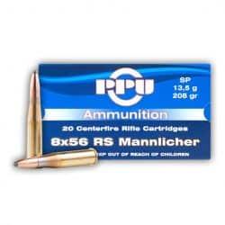 Cartouches PPU Calibre 8x56RS MANNLICHER SP 208grs - Boite de 20 unités
