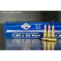 Cartouches PPU Calibre 8mm KURZ (7,92x33) FMJBT 124grs - Boite de 20 unités