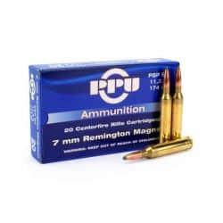 Cartouches PPU Calibre 7MM REMINGTON MAGNUM SP 174grs - Boite de 20 unités