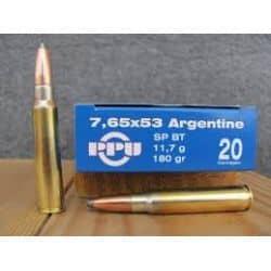 Cartouches PPU Calibre 7,65x53 ARGENTINE SPBT 180grs - Boite de 20 unités
