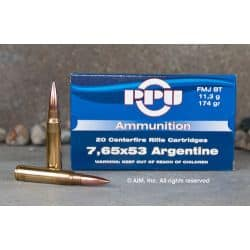 Cartouches PPU Calibre 7,65x53 ARGENTINE FMJBT 174grs - Boite de 20 unités