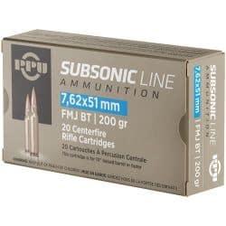 Cartouches PPU Calibre 7,62x51 (308) SUBSONIC FMJBT 200grs - Boite de 20 unités