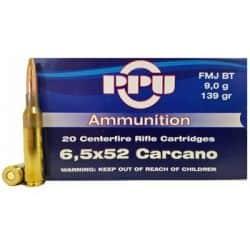 Cartouches PPU Calibre 6,5x52 CARCANO FMJBT 139grs - Boite de 20 unités