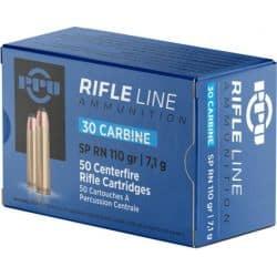 Cartouches PPU Calibre 30 CARBINE FMJ RN 110grs - Boite de 50 unités