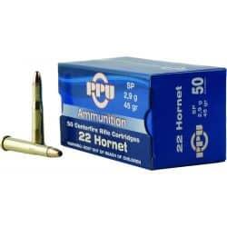 Cartouches PPU Calibre 22 HORNET SP 45grs - Boite de 50 unités