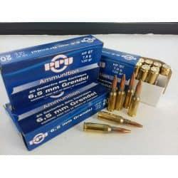 Cartouches PPU  6,5 mm GRENDEL 120gr  (7,8g) HP BT - boite de 20 unités