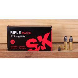 Cartouches SK RIFLE MATCH Calibre 22LR - Boite de 50 unités