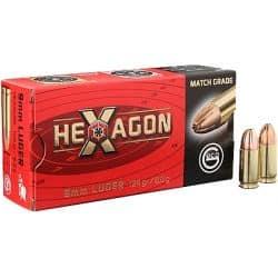 Cartouches GECO HEXAGON Calibre 9mm 124grs - Boite de 50 unités