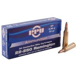 Cartouches PPU calibre 22-250 Rem SP 55grs - boite de 20 unités