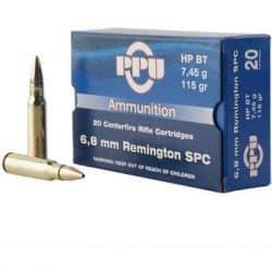 Cartouches PPU Calibre 6.8mm Rem SPC 115grs - Boite de 20 unités