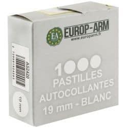 1000 pastilles autocollantes 19mm BLANC