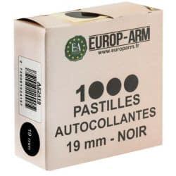 1000 pastilles autocollantes 19mm NOIR