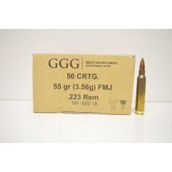 Cartouches GGG Cal. 223 .224 55grs FMJBT - Caisse de 1000 unités
