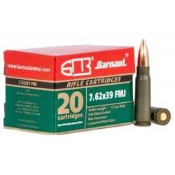 Cartouches BARNAUL Calibre 7,62x39 FMJ - Boite de 20 unités