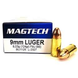 Cartouches MAGTECH 9mm 124grs FMJ - Boite de 50 unités