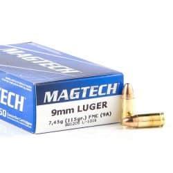Cartouches MAGTECH Calibre 9mm 115grs FMJ - Boite de 50 unités