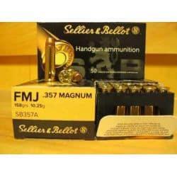 Cartouches SELLIER & BELLOT Calibre 357 MAGNUM 158grs SP - Boite de 50 unités