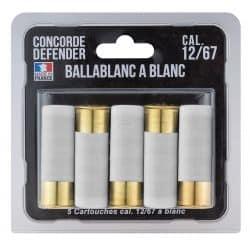 Cartouches CONCORDE DEFENDER à blanc Calibre 12/67 - Blister de 5 unités