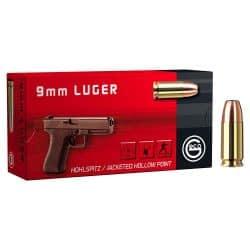 Cartouches GECO Calibre 9mm 115grs Hollow Point - Boite de 50 unités