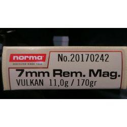 Cartouches NORMA7mm REM MAG VULKAN 170grs (11gr) - Boite de 20 unités