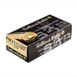 Cartouches SELLIER & BELLOT Calibre 9mm 115grs FMJ - Boite de 50 unités