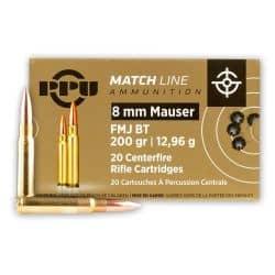 Cartouches PPU 8mm MAUSER 200gr FMJBT - Boite de 20 unités