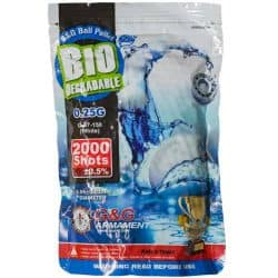 G&G Billes Airsoft Bio 6 mm 0.25 g - 2000 pièces blanc