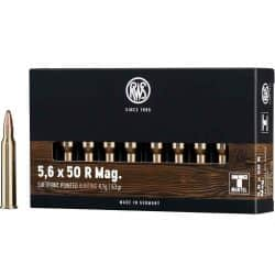Cartouches RWS  5.6x50R MAG  SOFPOINT POINTED HUNTING 4.1g / 63gr
