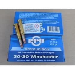 Cartouches PPU Calibre 30-30 WINCHESTER FSP 170grs - Boite de 20 unités