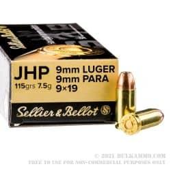 Cartouches SELLIER & BELLOT Calibre 9mm 115grs JHP - Boite de 50 unités