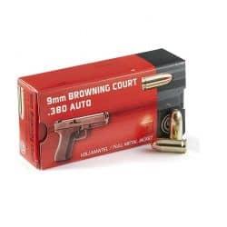 Cartouches GECO Calibre 9mm BROWNING COURT 380 - 95grs FMJ - Boite de 50 unités