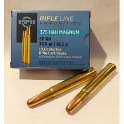 PPU Cartouches Calibre 375 H&H Mag SP RN 300grs - Boite de 10 unités