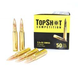 Cartouches TOP SHOT Calibre 7,5x55 SUISSE FMJBT 174grs - Boite de 50 unités